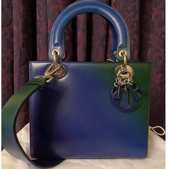 Dior lady Dior medium blue green